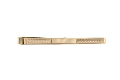 Tie Bar Yellow Gold PlainTie Clip With Patterned Design
